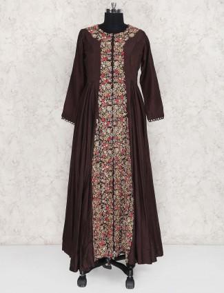 Brown hued anarkali suit
