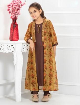 Brown hued cotton pant style salwar suit