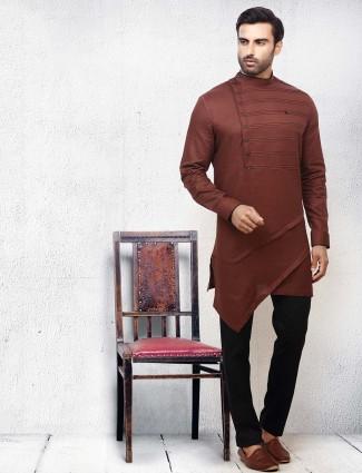 Brown hued solid slim fit festive wear kurta suit