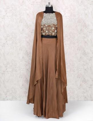 Brown indo western lehenga choli