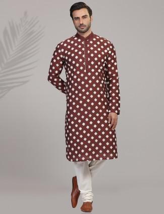 Brown kurta suit in cotton silk