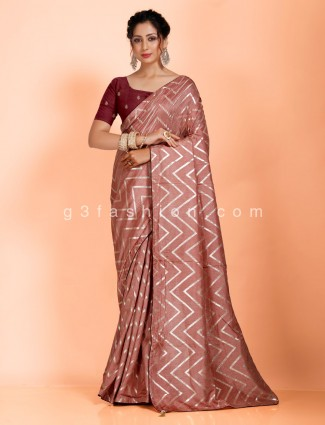 Brown leheriya saree in dola silk
