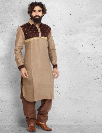 Brown linen plain pathani suit