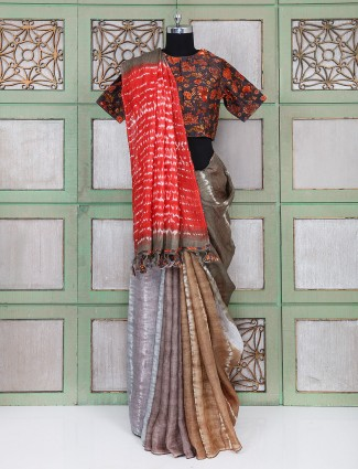 Brown linen saree with readymade blouse