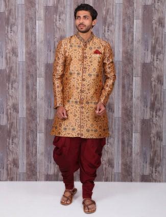 Brown maroon silk wedding wear kurta suit