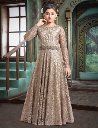 Brown net fabric classic gown