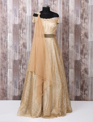 Brown net fabric designer anarkali suit