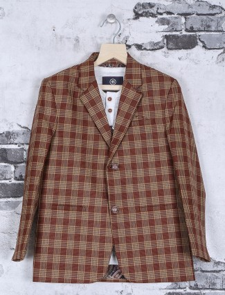 Brown party wear blazer in terry rayon