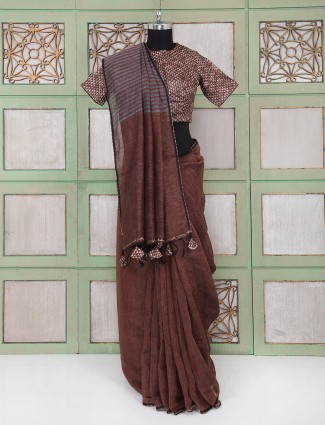 Brown party wear linen saree with readymade blouse