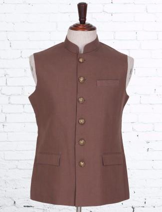 Brown plain classy cotton linen waistcoat