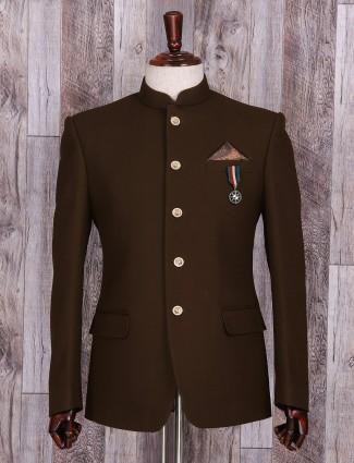 Brown plain jodhpuri suit in terry rayon fabric