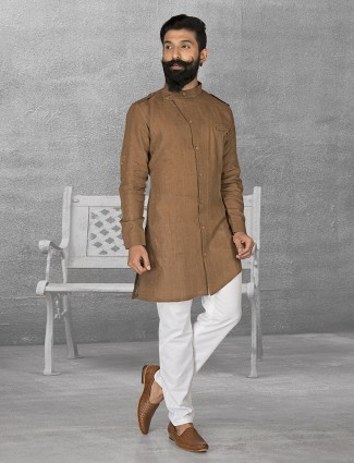 Brown plain linen kurta suit