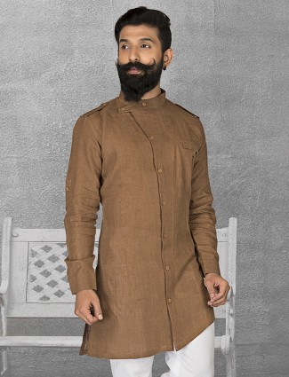 Brown plain linen short pathani
