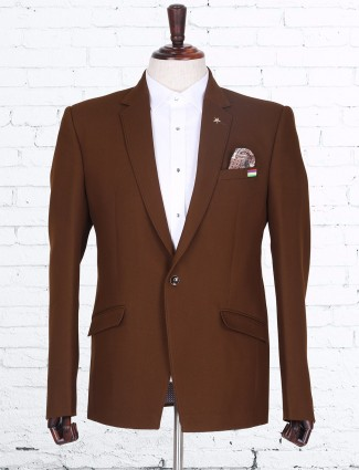 Brown plain terry rayon blazer