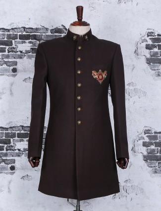 Brown plain wedding wear indo western