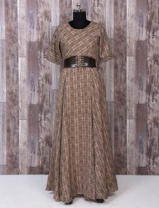 Brown printed cotton kurti for festive function