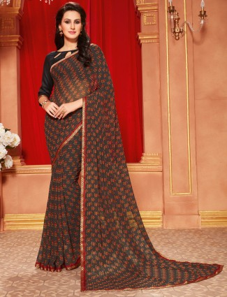 Brown printed dressy georgette saree