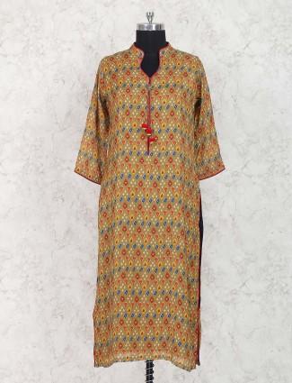 Brown printed pattern simple kurti