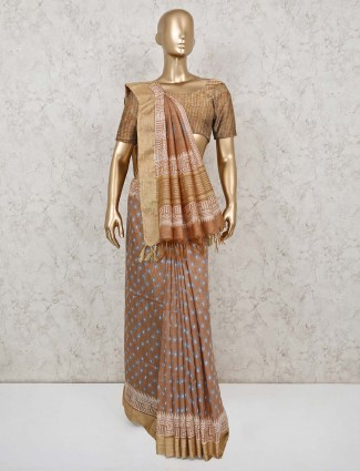 Brown printed saree in cotton