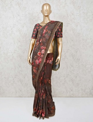 Brown printed saree in georgette