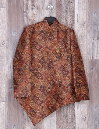 Brown printed terry rayon indo western for boys