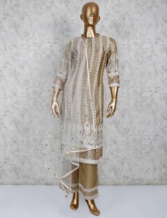Brown punjabi palazzo set in cotton silk
