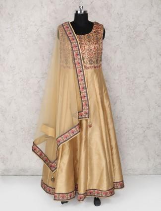 Brown raw silk fabric anarkali suit