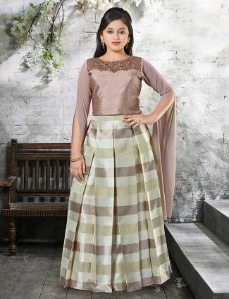 Brown raw silk fabric designer lehenga choli