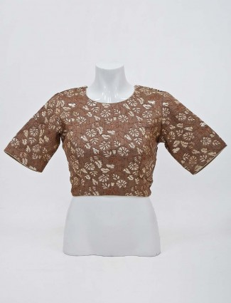 Brown raw silk round neck readymade blouse