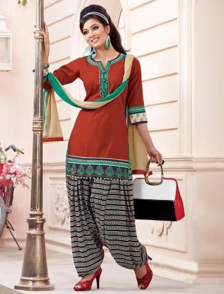 Brown ready made cotton silk plain punjabi salwar suit