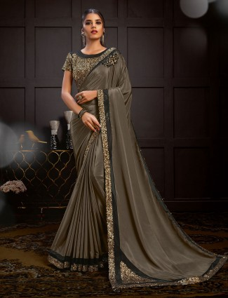 Brown satin georgette embroidered saree design for party
