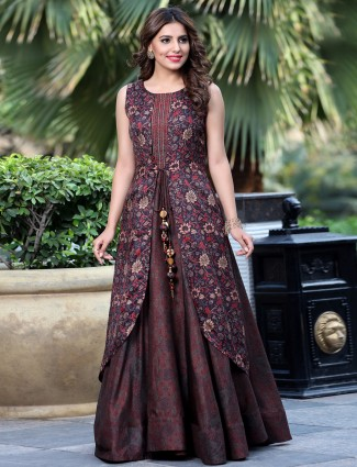 Brown silk designer kurti