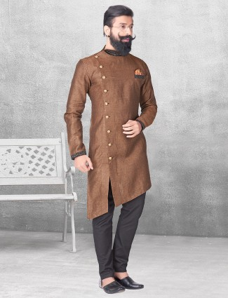 Brown silk kurta suit for festive function