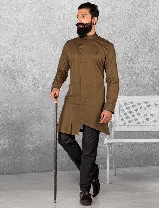 Brown silk plain kurta suit