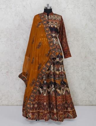 Brown silk wedding wear floor length anarkali suit