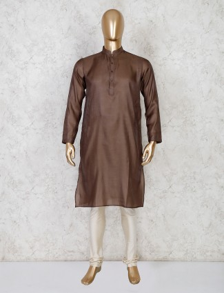 Brown solid cotton festive wear kurta suit