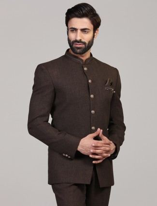 Brown solid jodhpuri party wear blazer