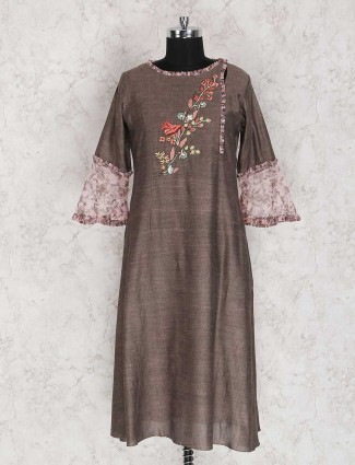 Brown solid kurti for festive