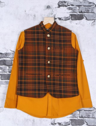 Brown terry rayon checks pattern waistcoat shirt