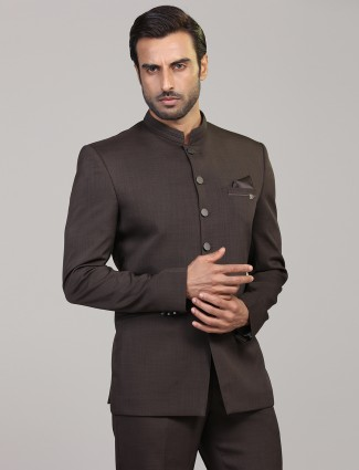 Brown terry rayon jodhpuri blazer party wear