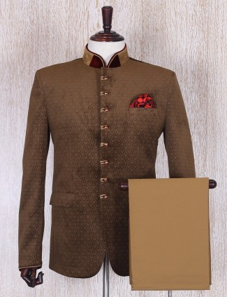 Brown terry rayon jodhpuri coat suit