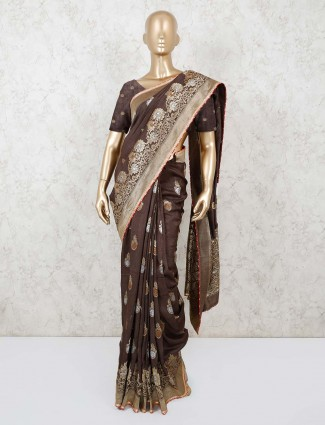 Brown thread golden weaving muga silk saree for festivals