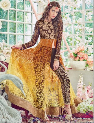 Brown yellow brasso net salwar suit