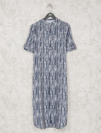 Casual blue cotton striped long casual kurti