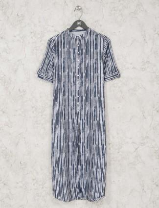 Casual blue cotton striped long casual kurti