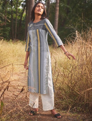 Casual cotton grey kurti in striped pattern