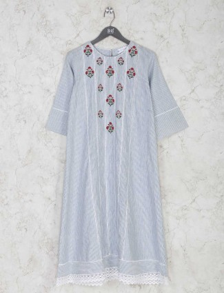 Casual cotton striped kurti in blue color