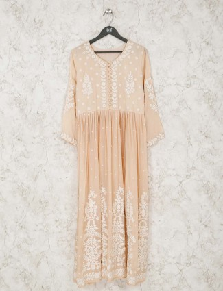 Casual cotton tunic in peach with thread work
