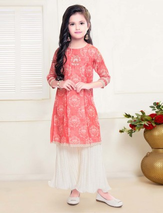Casual get together red cotton sharara suit