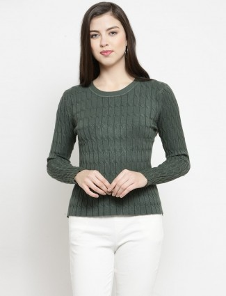 Casual olive knitted textured top for winter